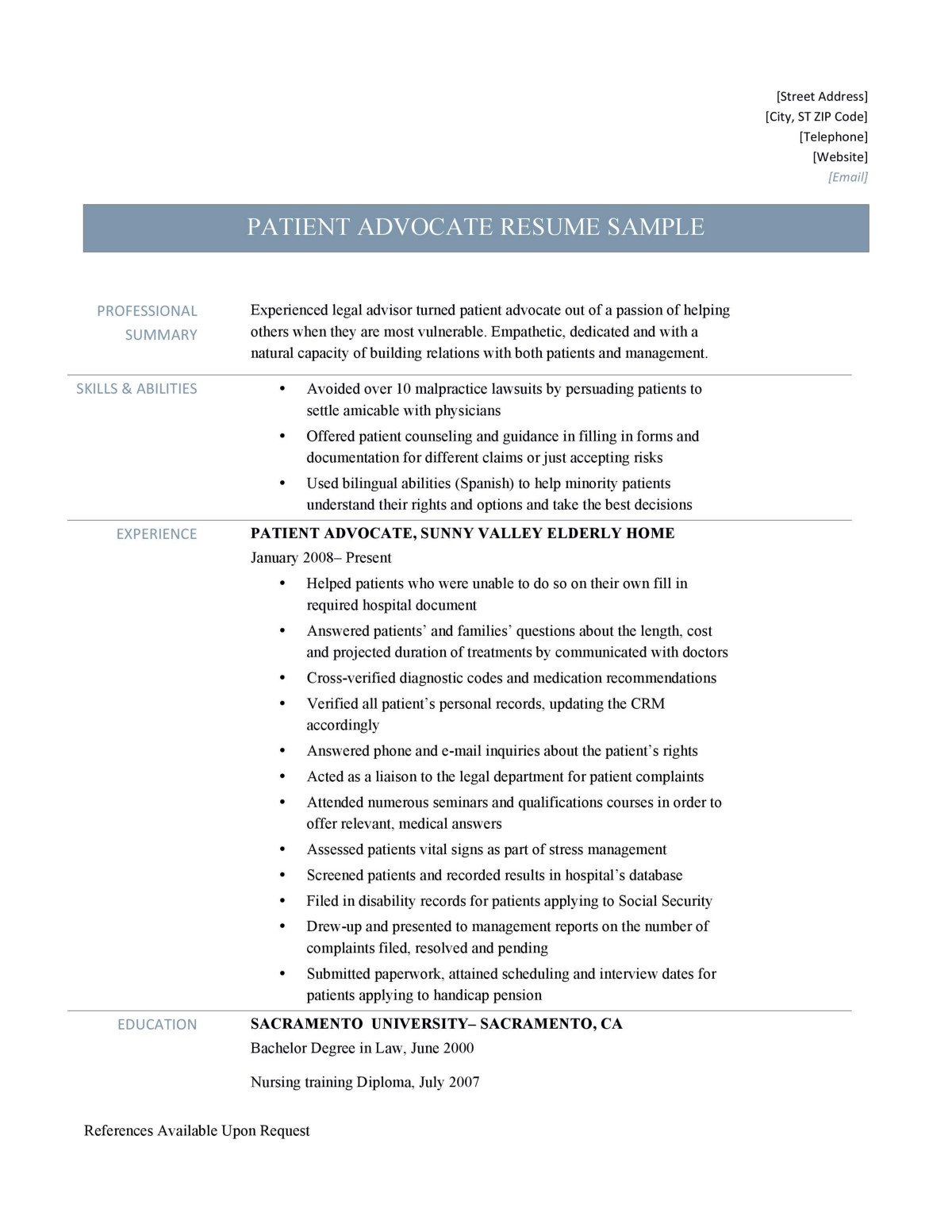 patient advocate resume samples tips and templates by builders medium job description for Resume Patient Advocate Job Description For Resume