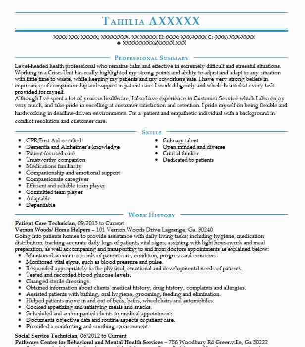 patient care technician resume example resumes misc livecareer associate security analyst Resume Patient Care Associate Resume