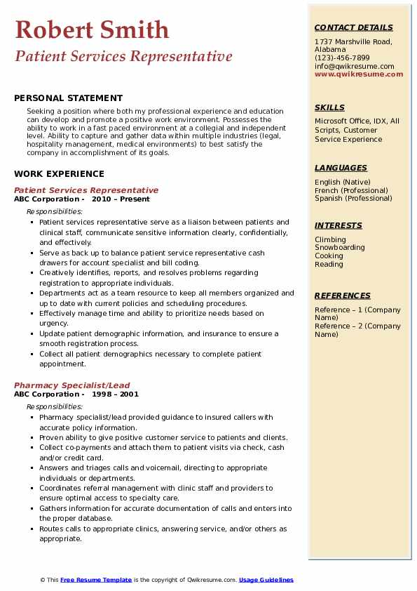 patient services representative resume samples qwikresume medical customer service pdf Resume Medical Customer Service Representative Resume