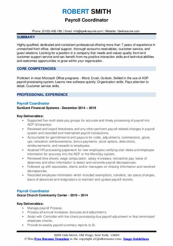 payroll coordinator resume samples qwikresume pdf letter sample planet should have Resume Payroll Coordinator Resume