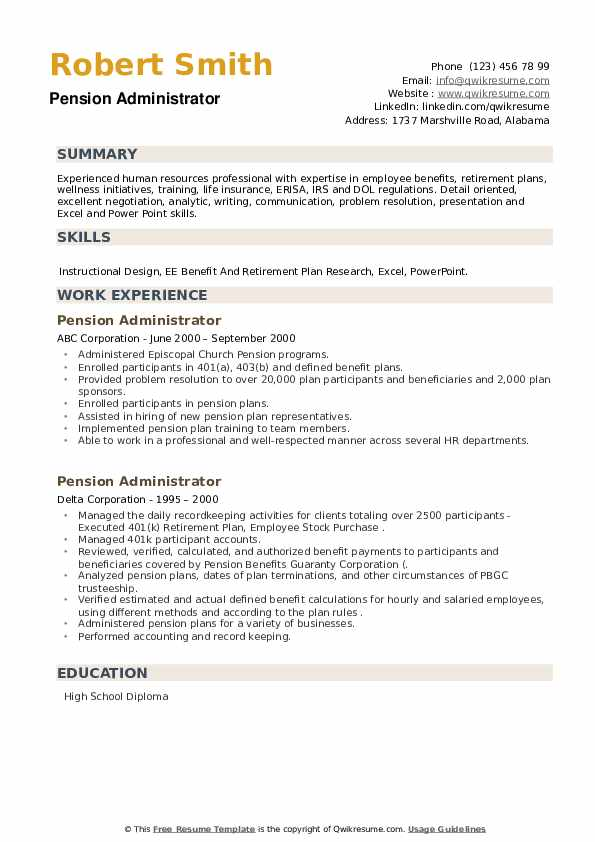 pension administrator resume samples qwikresume pdf sample templates for experienced Resume Pension Administrator Resume