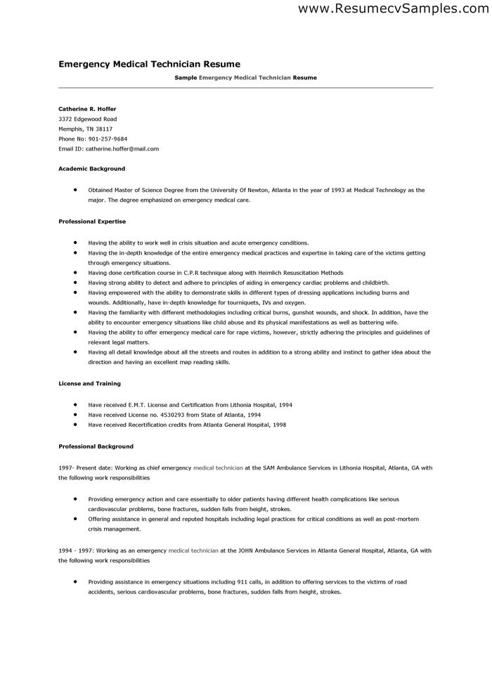 perfect emt resume google search medical assistant no experience sample cover letter Resume Emergency Medical Technician Resume Sample