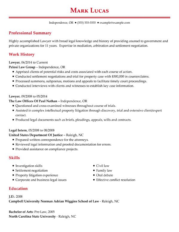 perfect resume examples for my samples job seekers professional chronological lawyer Resume Resume Samples For Job Seekers
