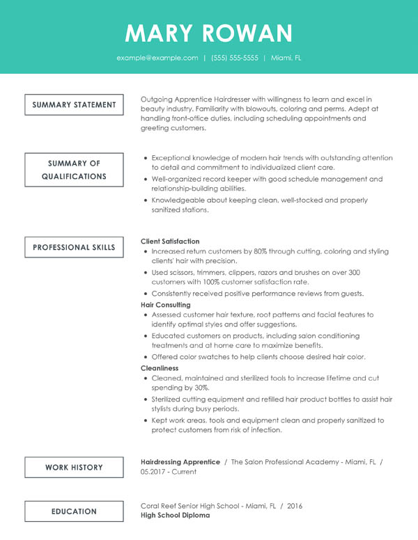 perfect resume examples for my successful simple functional entry level hair stylist Resume Successful Resume Examples