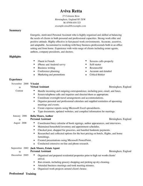 personal assistant cv template samples examples example resume full mis skills airbnb Resume Personal Assistant Example Resume