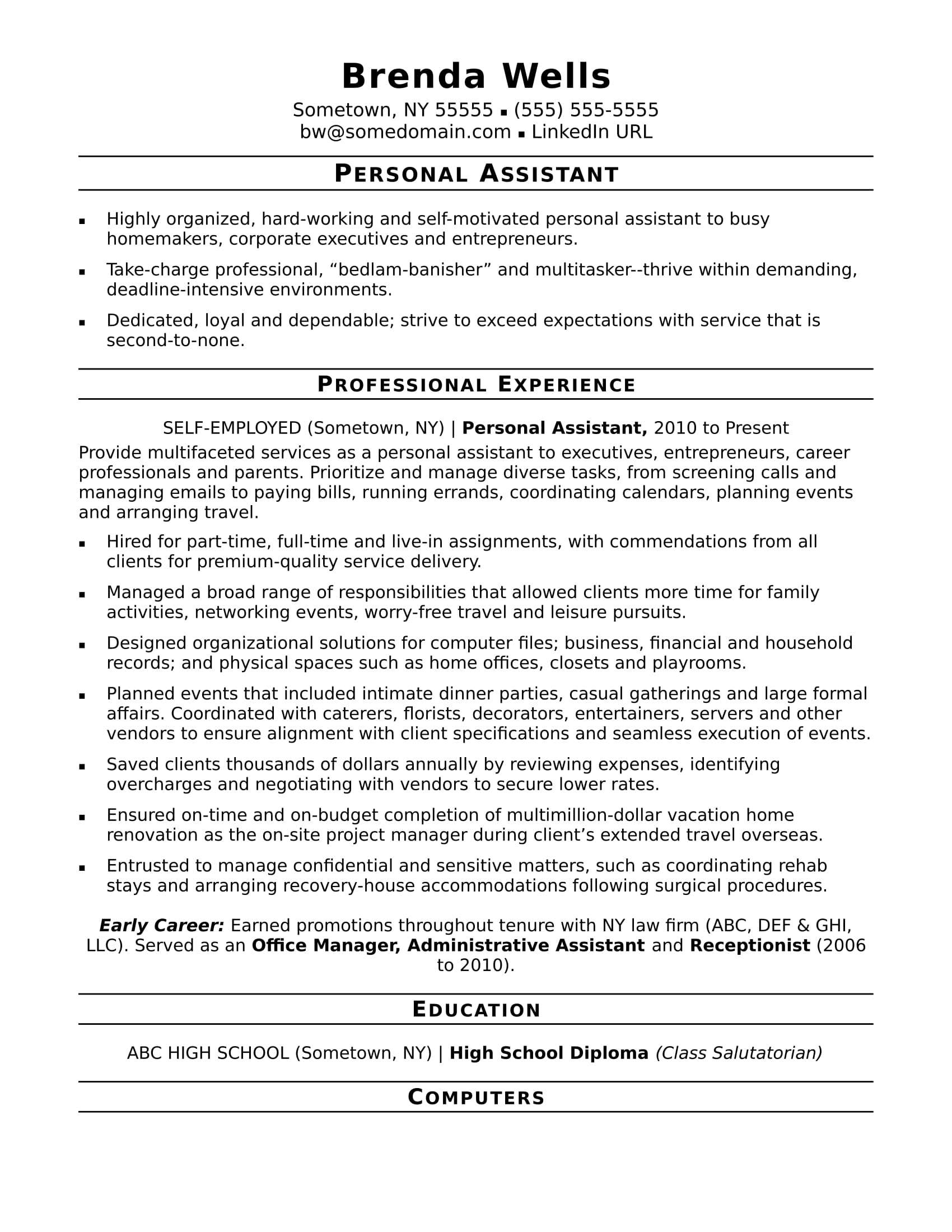 personal assistant resume sample monster with promotion example guest relations server Resume Resume With Promotion Example