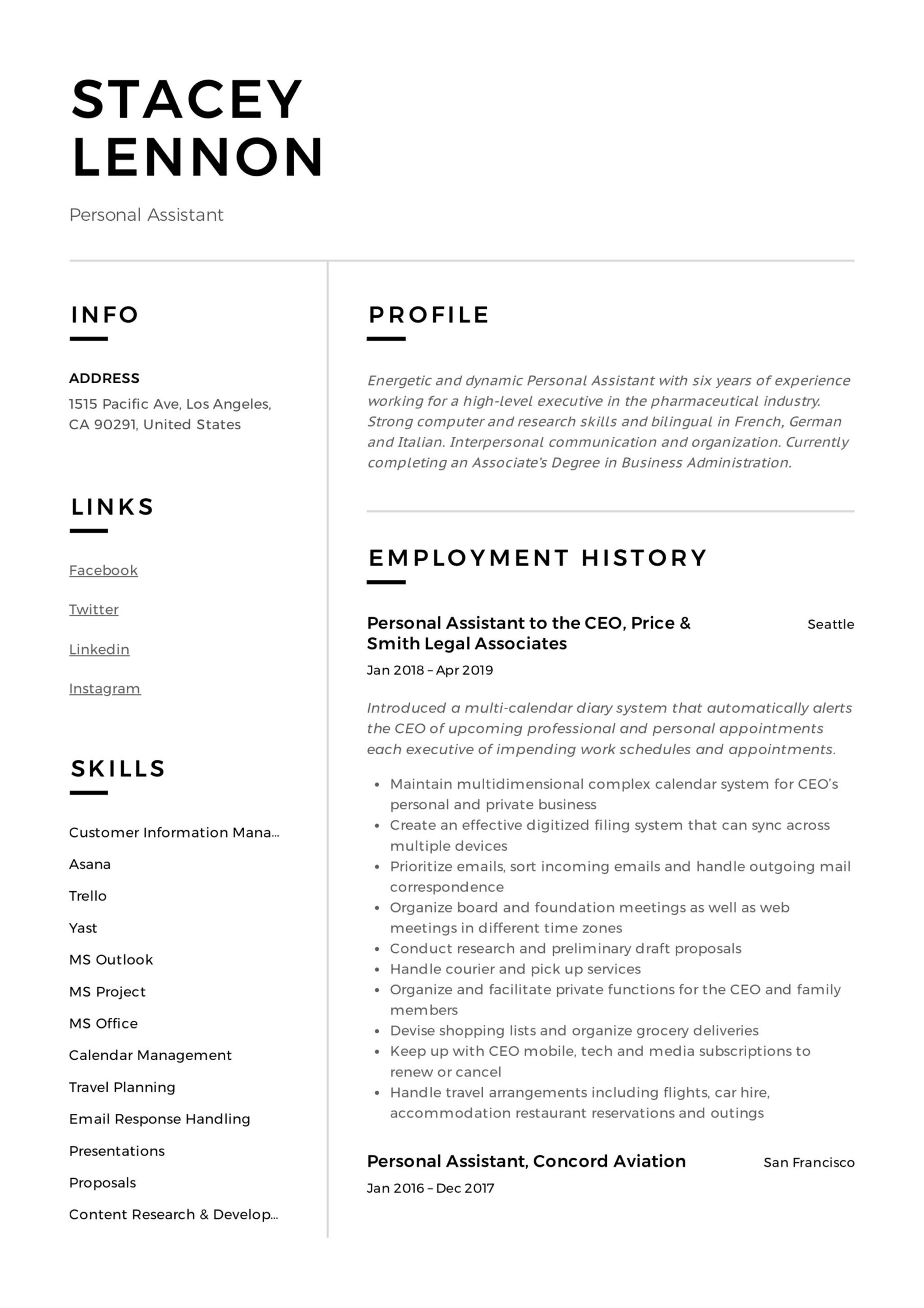 personal assistant resume writing guide templates pdf example teacher duties for Resume Personal Assistant Example Resume