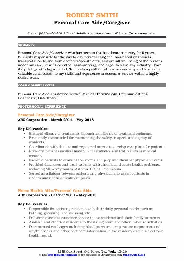 personal care aide resume samples qwikresume assistant pdf smoothie maker ceo examples Resume Personal Care Assistant Resume