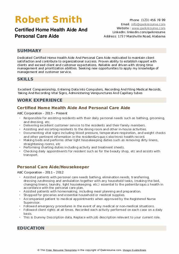 personal care aide resume samples qwikresume home examples pdf include on entry level Resume Home Care Resume Examples