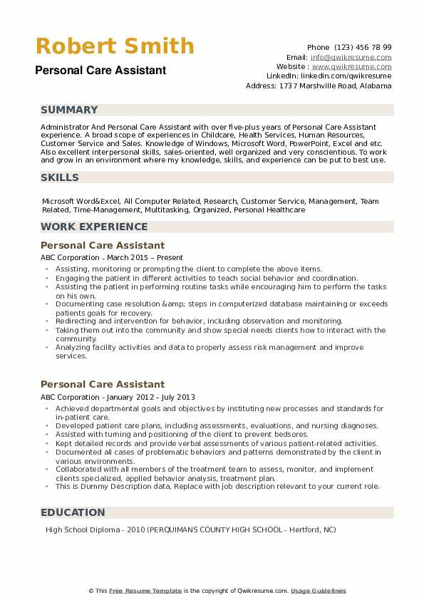 personal care assistant resume samples qwikresume pdf talent inc writer salary Resume Personal Care Assistant Resume