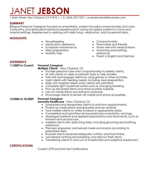 personal care resume example myperfectresume examples job assistant call center manager Resume Personal Care Assistant Resume