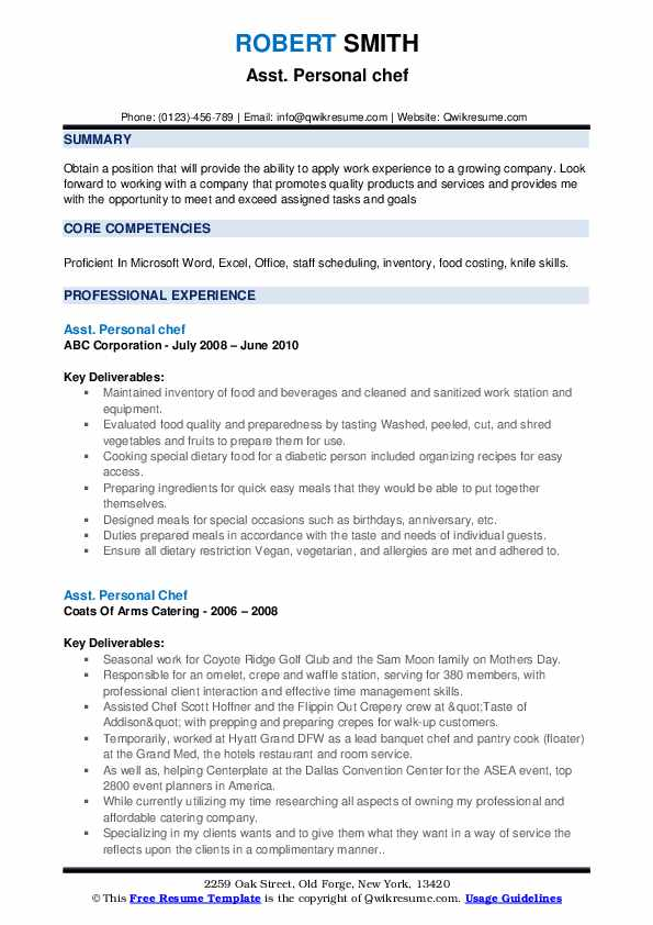 personal chef resume samples qwikresume objective pdf perfect sample psw qualifications Resume Personal Chef Resume Objective