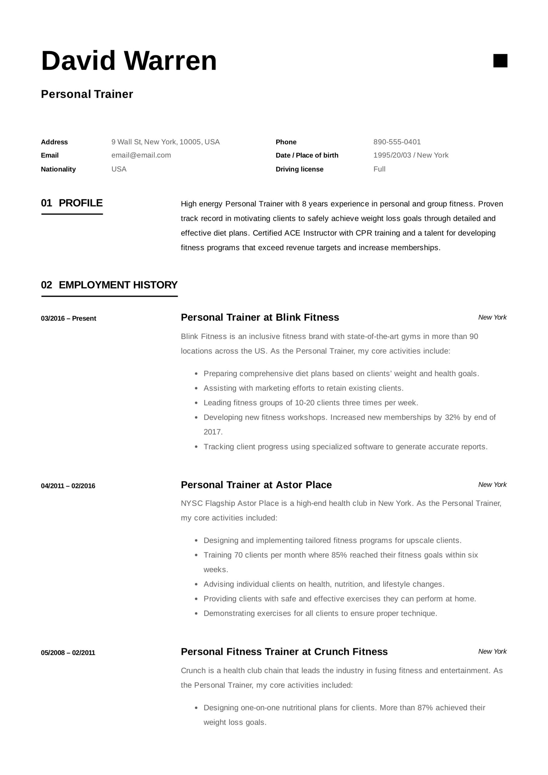 personal trainer resume job examples duties manager for vp talent acquisition pilot Resume Personal Trainer Duties Resume