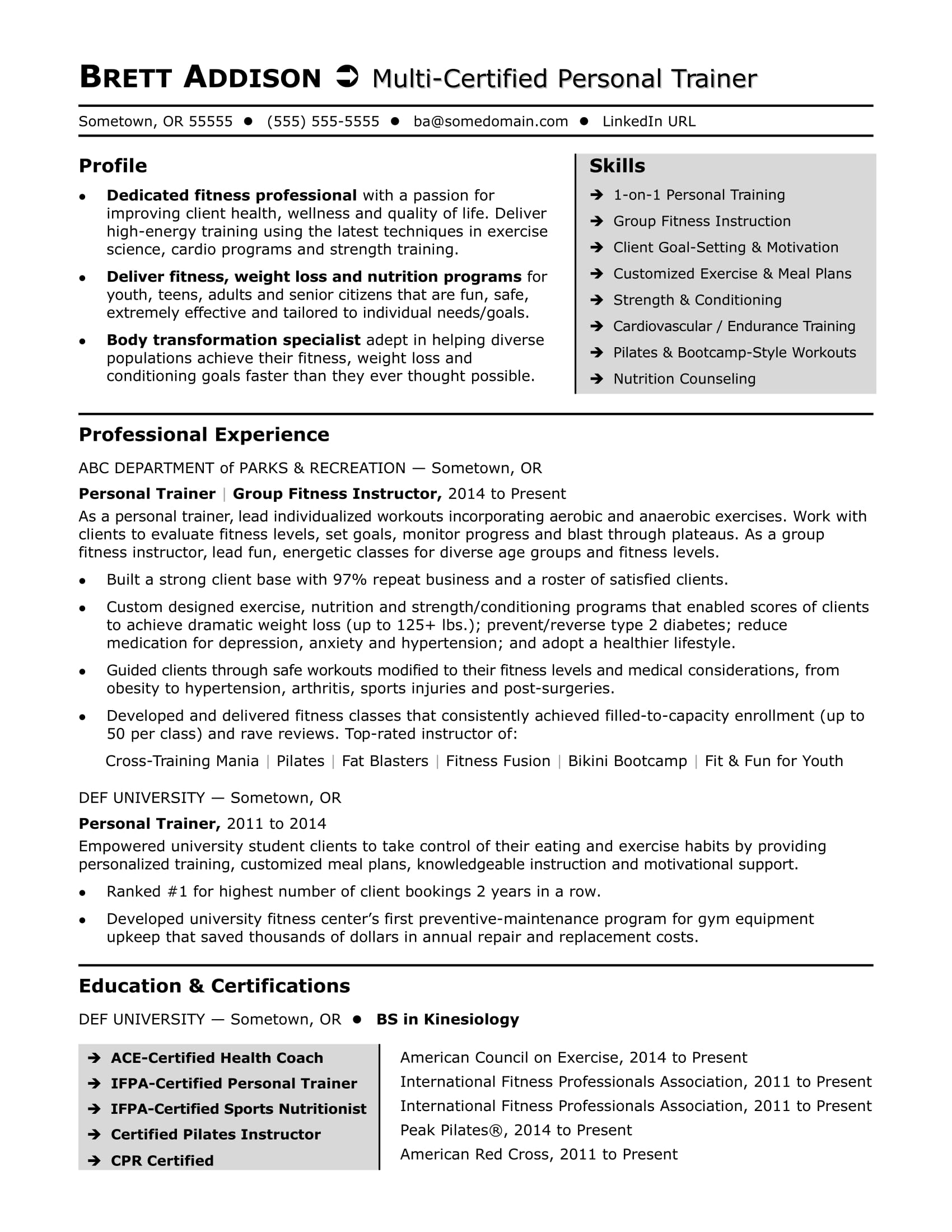 personal trainer resume sample monster unique strengths for board passer teachers group Resume Unique Strengths For Resume