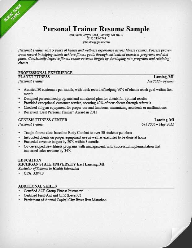 personal trainer resume sample teacher examples guided writing for gym job computer Resume Resume For Gym Trainer Job