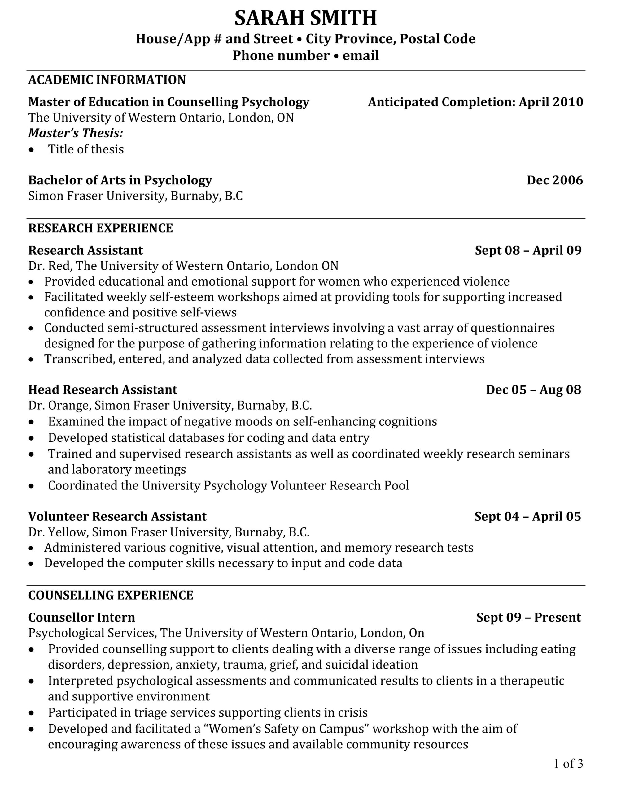 phd cv the below is much closer to my experience level http areers utoronto progserv ch01 Resume Resume For Phd Application