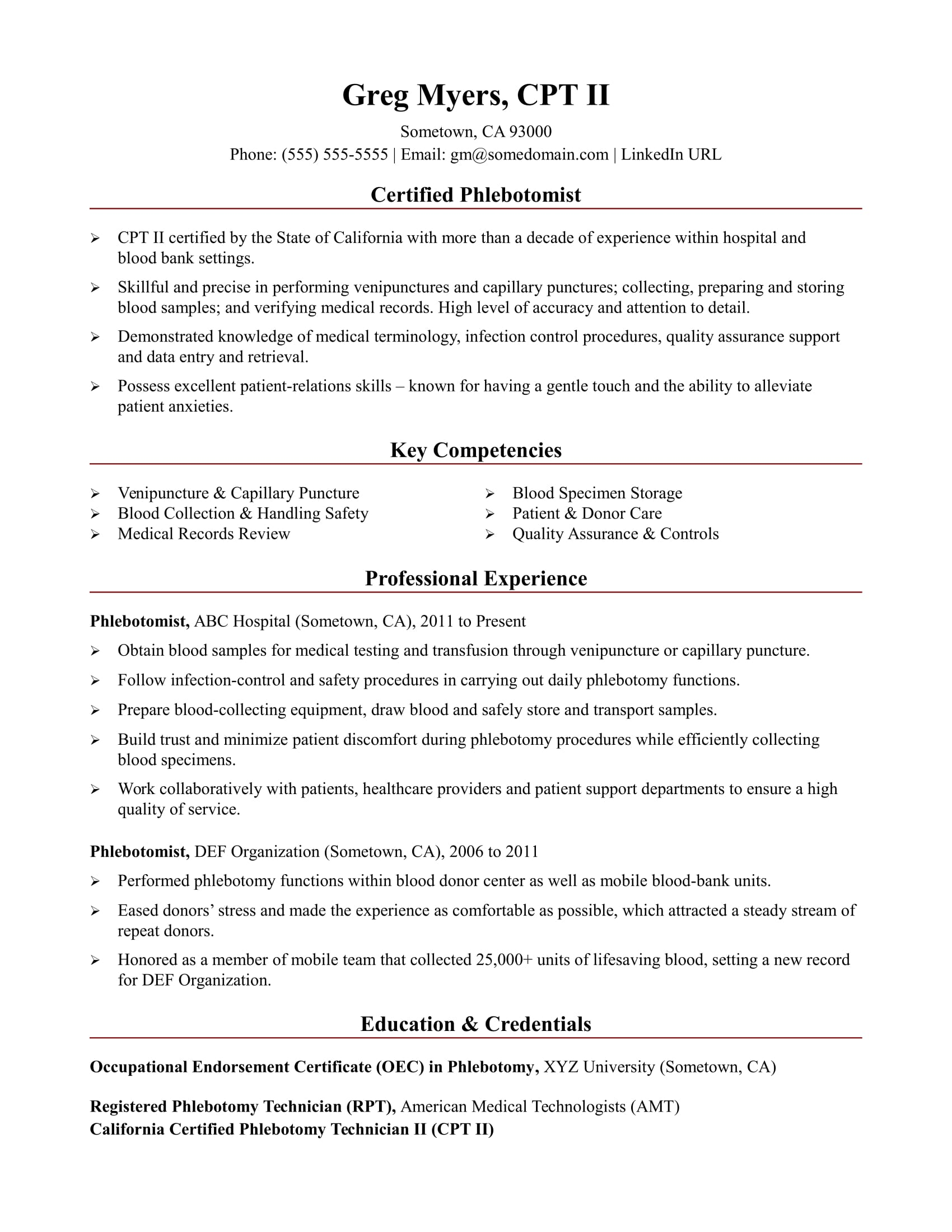 phlebotomist resume sample monster competency template foreign language teacher objective Resume Competency Resume Template