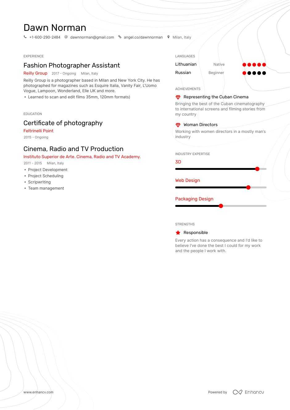 photographer assistant resume example for enhancv manager duties preschool teacher Resume Photographer Assistant Resume