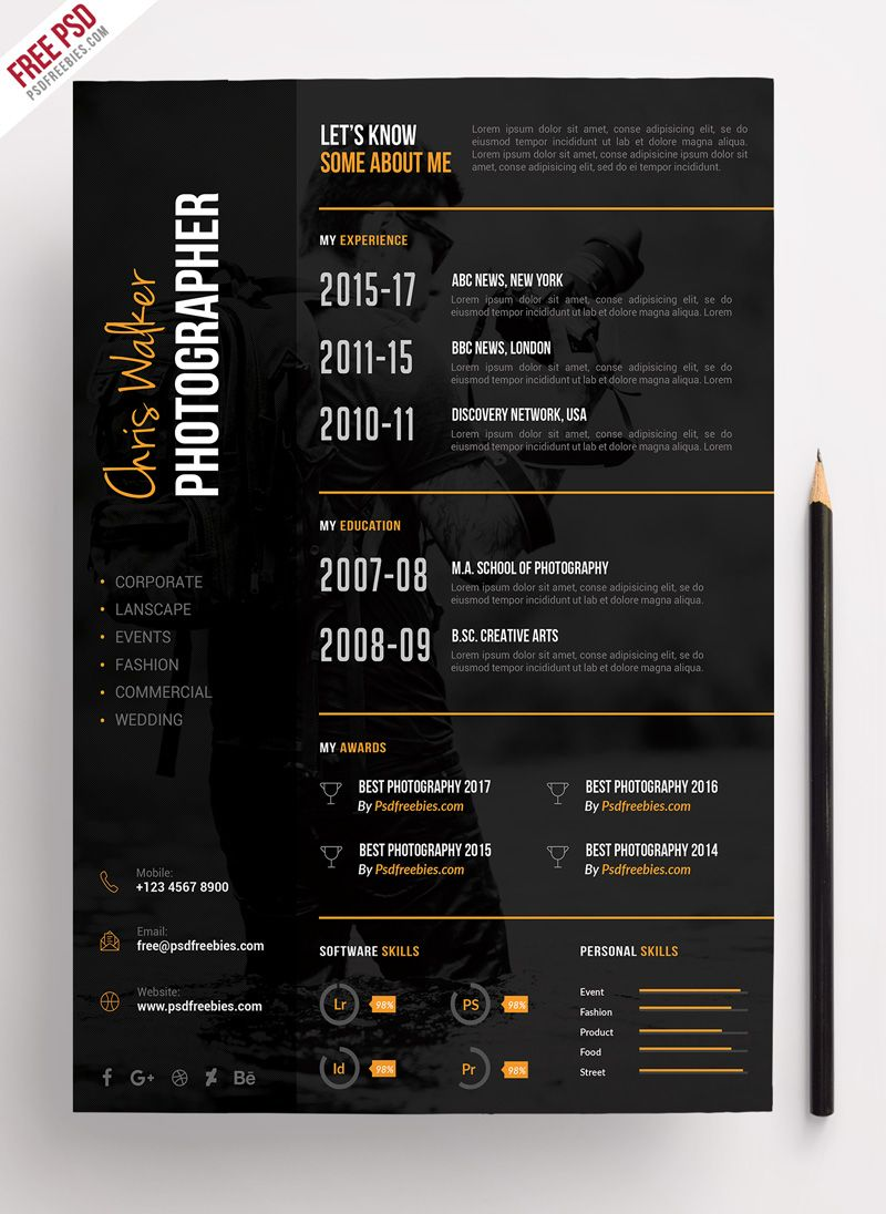 photographer resume cv template psdfreebies photography design freshman recommended Resume Photographer Resume Template