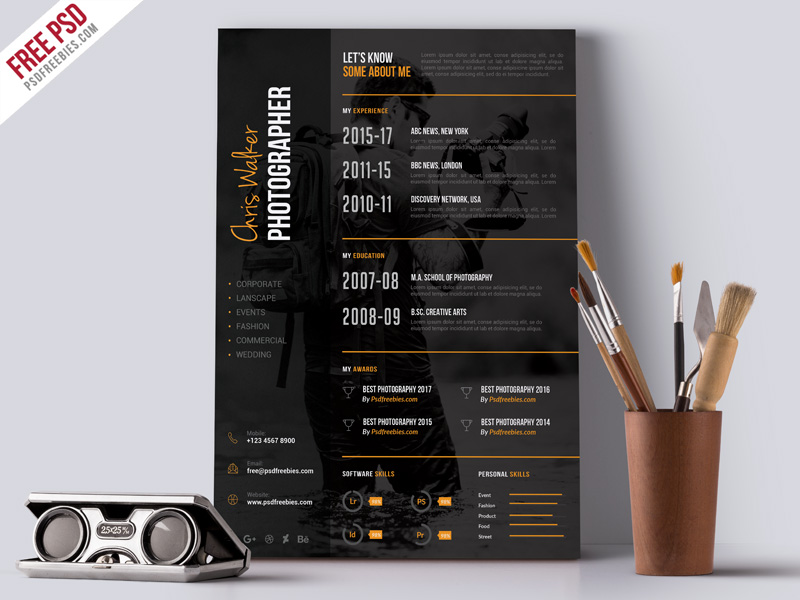 photographer resume cv template psdfreebies sample cover letter for construction civil Resume Photographer Resume Template