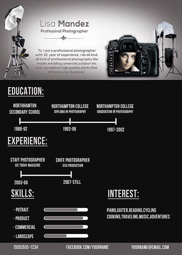 photographer resume on behance template recommended format sample email with attached Resume Photographer Resume Template