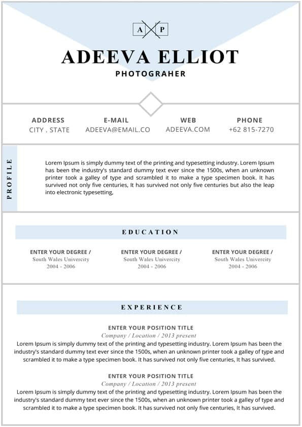 photographer resume template editable for word professional cv immigration paralegal non Resume Photographer Resume Template