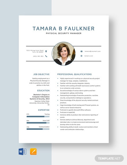physical security manager resume cv template word apple mac auto body estimator free Resume Security Manager Resume