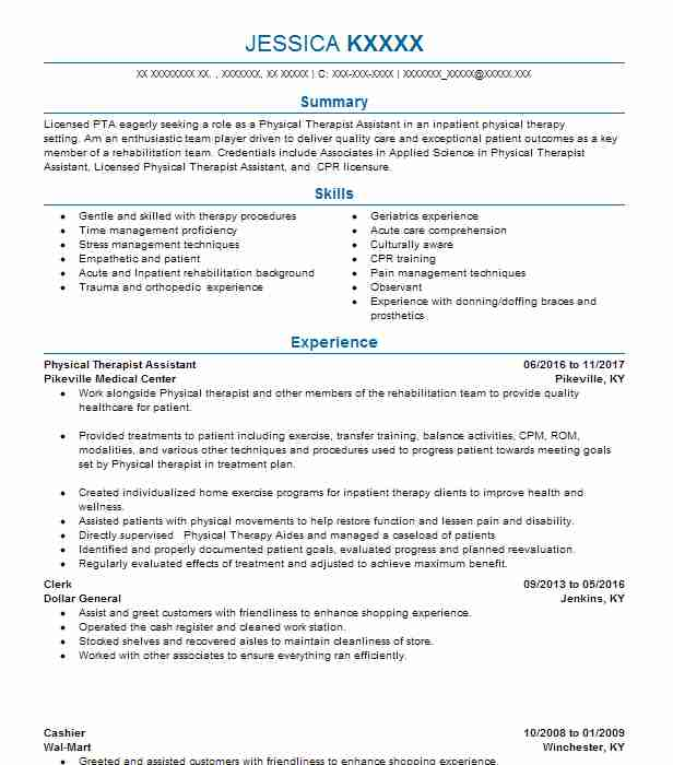 physical therapist assistant resume example resumes misc livecareer project manager Resume Physical Therapist Assistant Resume