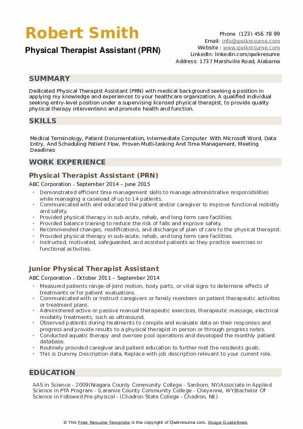 physical therapist assistant resume samples qwikresume examples for pdf graphic template Resume Resume Examples For Physical Therapist Assistant
