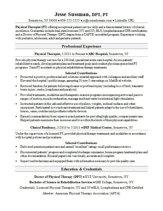 physical therapist resume sample monster therapy and references deadpool hospital Resume Sample Physical Therapy Resume