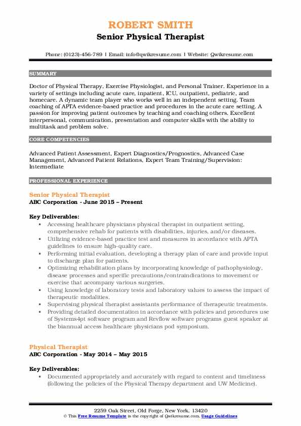physical therapist resume samples qwikresume therapy template pdf career objective Resume Physical Therapy Resume Template