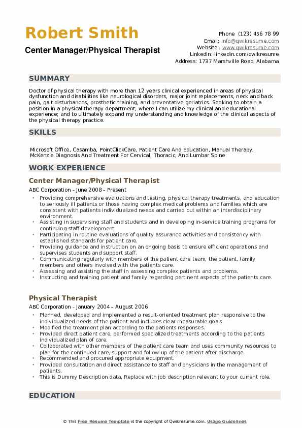 physical therapist resume samples qwikresume therapy template pdf sap abap year Resume Physical Therapy Resume Template