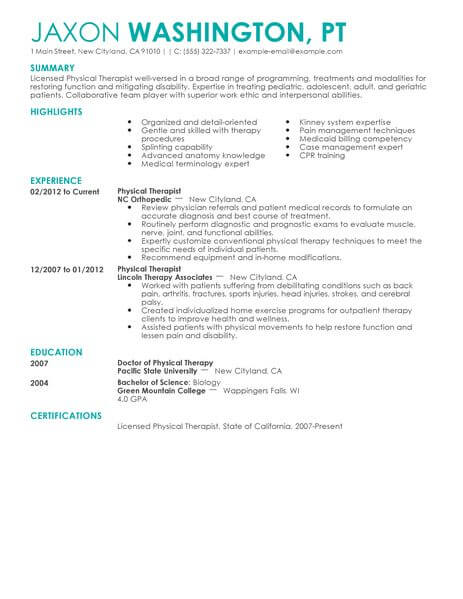 physical therapist resume template for microsoft word livecareer therapy healthcare Resume Physical Therapy Resume Template
