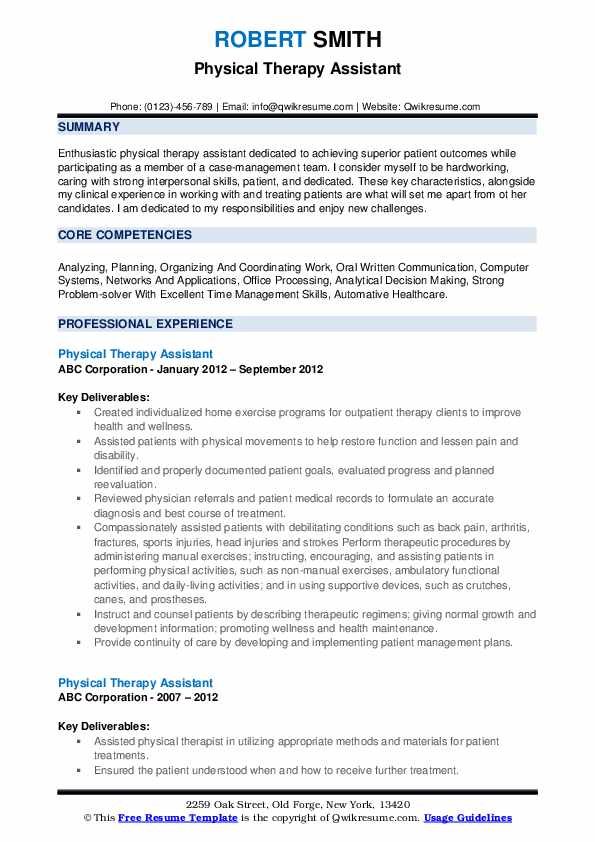 physical therapy assistant resume samples qwikresume examples for therapist pdf fences Resume Resume Examples For Physical Therapist Assistant
