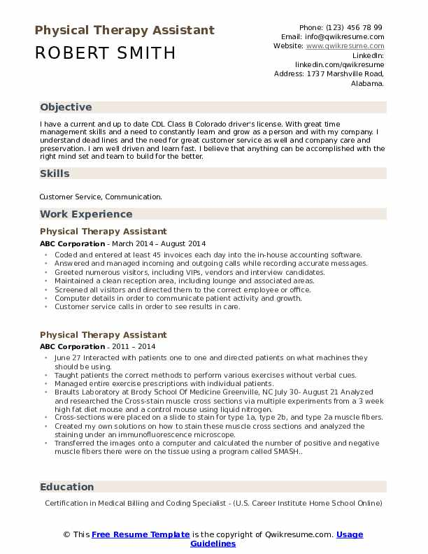 physical therapy assistant resume samples qwikresume therapist pdf career objective for Resume Physical Therapist Assistant Resume