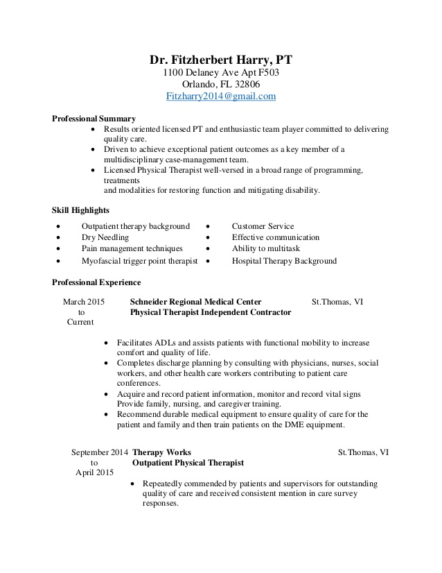 physical therapy resume sample deadpool and references caregiver qualifications bullet Resume Sample Physical Therapy Resume