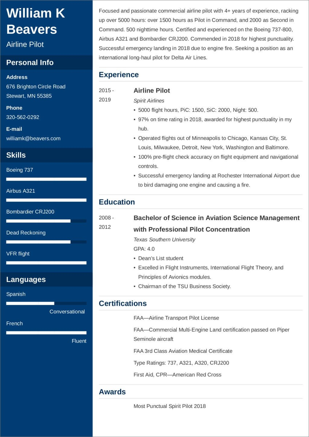 pilot resume template and writing tips airline services william beavers contoh untuk Resume Airline Pilot Resume Services
