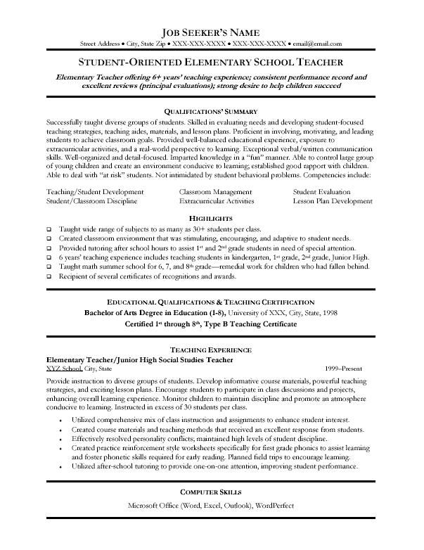 pin by best sample cover letters on resume samples teacher template teaching education Resume Elementary School Teacher Resume Template