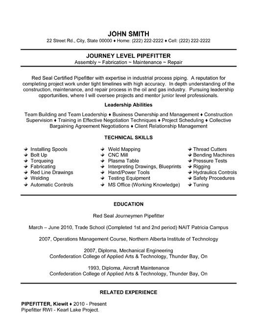 pin by coral shea on for resume helper good examples templates pipefitter template lesson Resume Pipefitter Resume Template