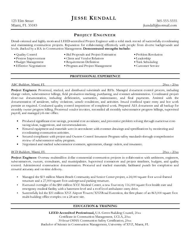 pin construction project coordinator resume image search results on sample resumes Resume Project Engineer Resume Example