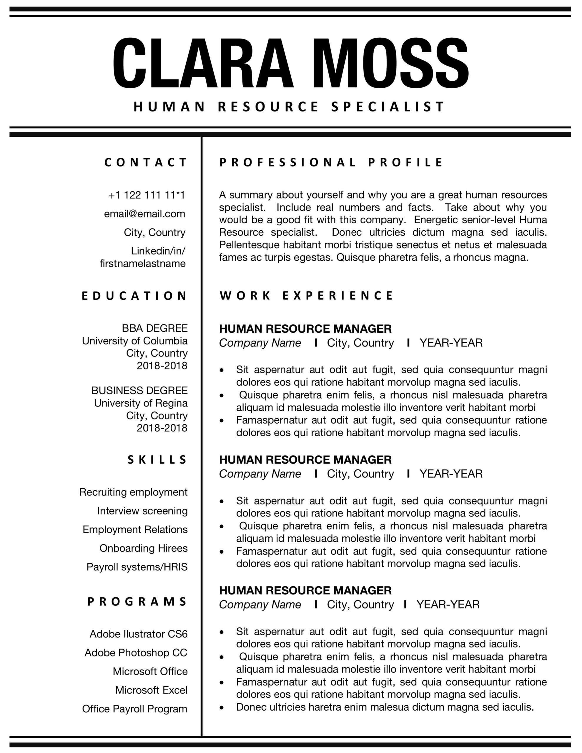 pin on human resources resume template interactive substitute teacher objective reading Resume Human Resources Resume Template