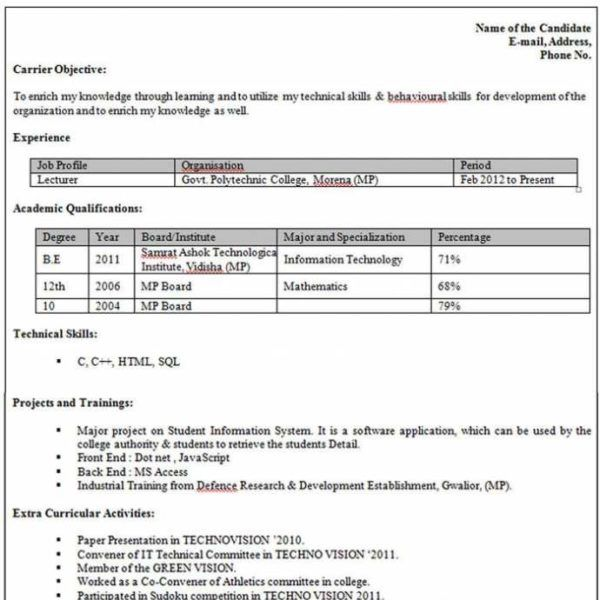 pin on paper craft student resume format for campus interview data entry job without Resume Student Resume Format For Campus Interview