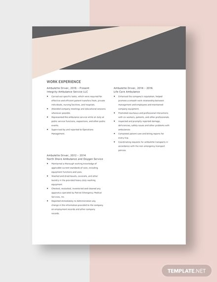 pin on portfolio template ambulette driver resume combination electrician sample process Resume Ambulette Driver Resume