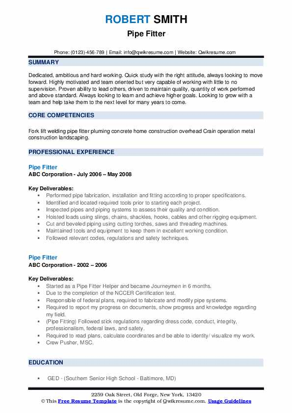 pipe fitter resume samples qwikresume pipefitter template pdf visually attractive Resume Pipefitter Resume Template