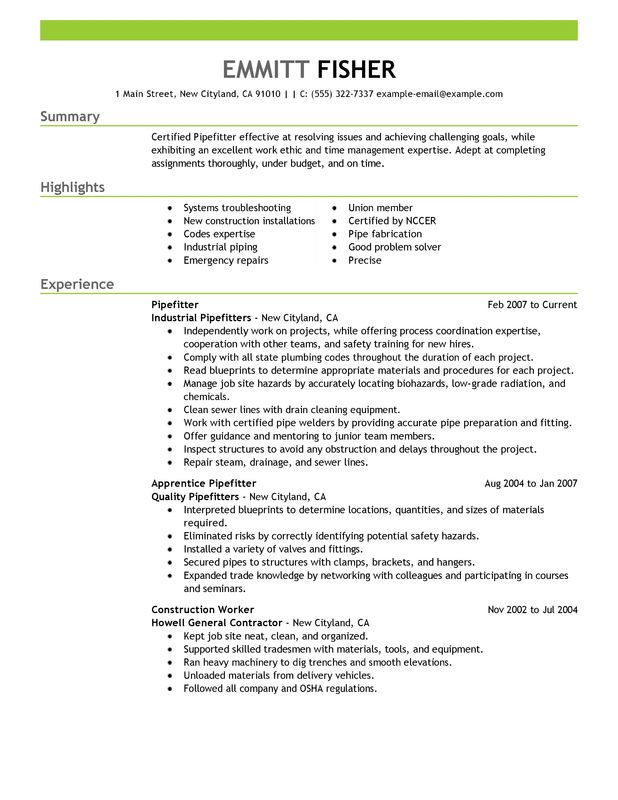 pipefitter resume examples created by pros myperfectresume template construction listing Resume Pipefitter Resume Template