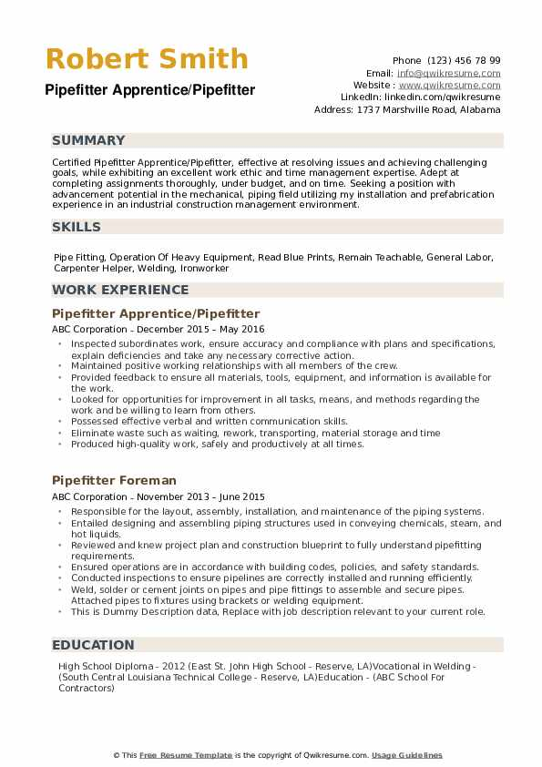 pipefitter resume samples qwikresume template pdf business analyst with testing Resume Pipefitter Resume Template