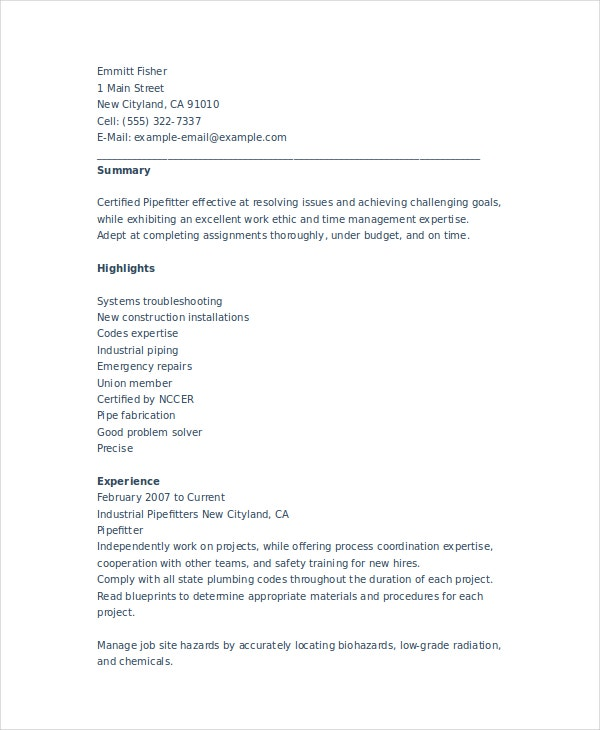 pipefitter resume template free word documents premium templates construction web Resume Pipefitter Resume Template