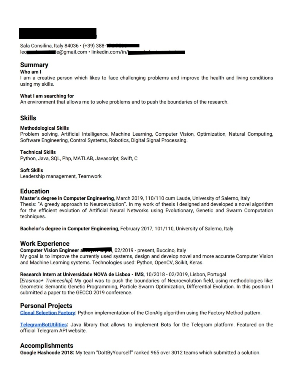 please help to improve my machine learning and phd applications resume resumes for Resume Resume For Phd Application