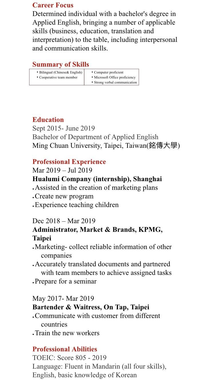 please review my girlfriends resume she is looking to get sponsored by us company work Resume Resume For H1b Visa Application