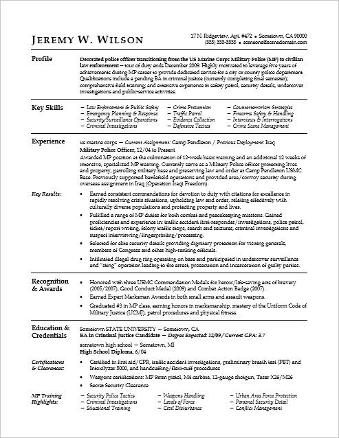 police officer military to civilian resume sample monster federal examples marine corps Resume Marine Corps Skills For Resume